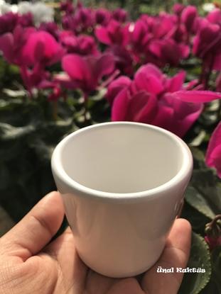 Resim Seramik (Beyaz) Saksı (5,5 cm için)
